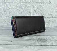 Кожаный кошелек Prensiti 122-6604 черный на кнопке, классический (монетница снаружи), фото 1
