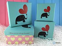 Подарочная коробка Влюбленные слоны набор 4 шт