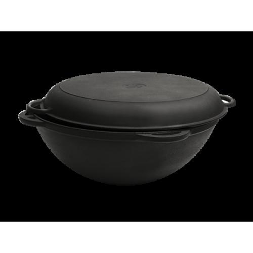 12 литров, Казан чугунный азиатский, с чугунной крышкой-сковородой, Ситон