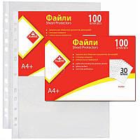 Файлы-карманы KLERK А4 30 мкм прозрачные Глянцевые 100 шт (Я14303_KL0040)