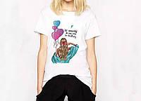 Стильная хлопковая футболка женская. Женская одежда. Модная футболка. Все размеры