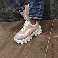 Кросівки жіночі пудрові на високій підошві