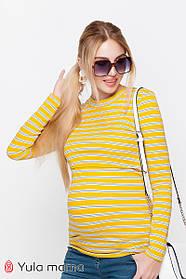 Лонгслив в полоску для беременных и кормящих POPPY желтый