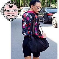 Спортивная сумка для фитнеса Amorefit черная, для женщин и мужчин унисекс
