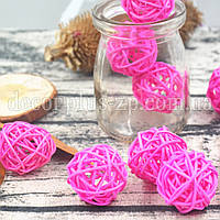 Шарики ротанговые 3см, розовые