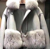Дубленка модная с мехом