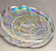 Емкость тарелка стеклянная для декора ногтей бусин, страз, бульонок