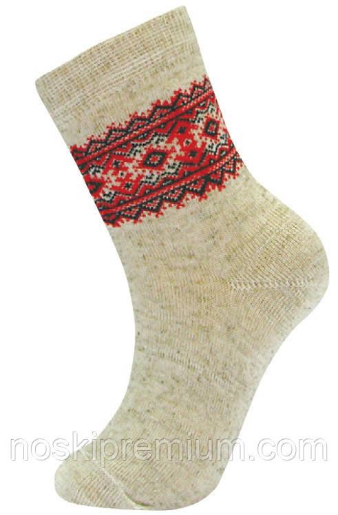 Носки детские демисезонные лён Класик с вышиванкой, 14 размер