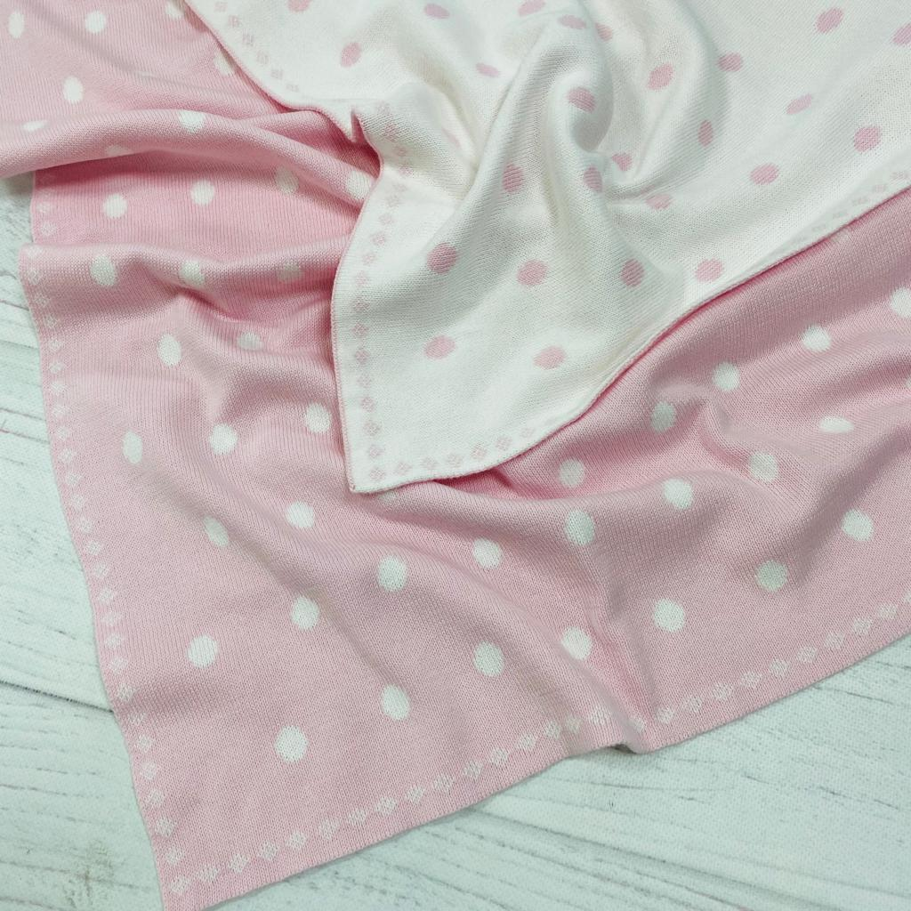 Плед вязанный двухсторонний бело-розовый с горохами 90*70 см (100% хлопок)