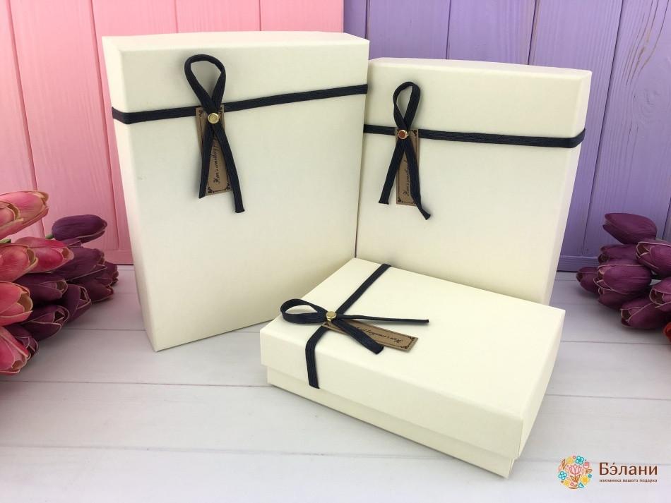 Подарочная коробки набор 3 шт однотонные прямоугольные