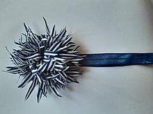 Повязка синяя детская с цветком - размер цветка около 9см, окружность 34-46см