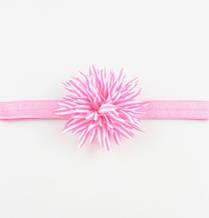 Повязка розовая детская с цветком - размер цветка около 9см, окружность 34-46см