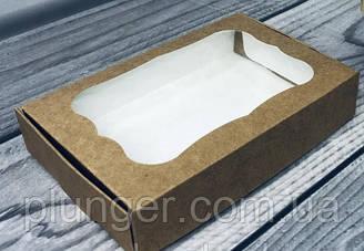 Коробка для печива, пряників, з вікном, 10 см х 15 см х 3 см, мілований картон Крафт