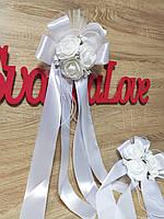 Украшение на ручку свадебных машин Букет Роз. Цвет белый.