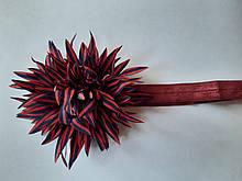 Повязка детская с цветком бордовая - размер цветка около 9см, окружность 34-46см