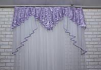 Ламбрекен из плотной ткани №108 Цвет сиреневый. Код:108л295, фото 1