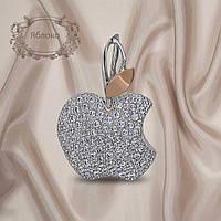 """Красивый женский кулон из серебра 925 пробы с золотыми пластинами 375 пробы """"Яблоко"""""""