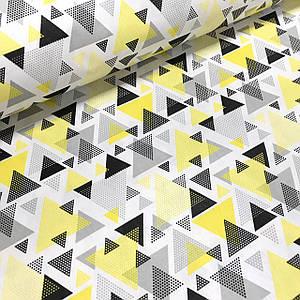 Хлопковая ткань польская треугольники серо-желтые из геометрических фигур