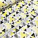 Хлопковая ткань польская треугольники серо-желтые из геометрических фигур, фото 2