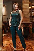 Гіпюровий жіночий костюм Зелений. (4 кольори) Р-ры: 56-62. (104)427А., фото 1