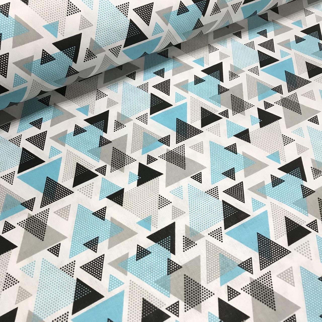 Хлопковая ткань польская треугольники серо-бирюзовые из геометрических фигур
