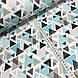 Хлопковая ткань польская треугольники серо-бирюзовые из геометрических фигур, фото 2