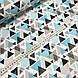 Хлопковая ткань польская треугольники серо-бирюзовые из геометрических фигур, фото 3