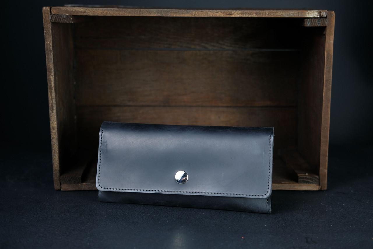 Кожаный кошелек на 12 карт Винтажная кожа цвет Черный