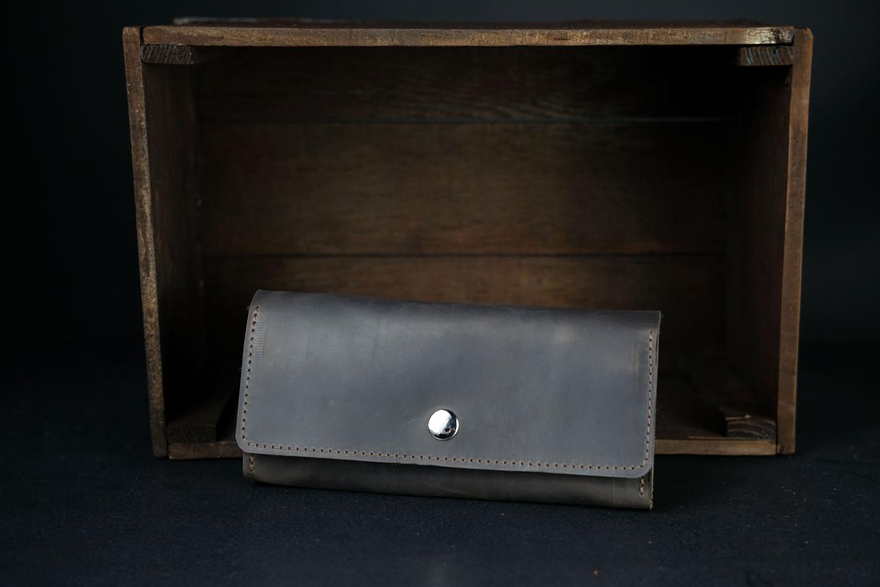 Кожаный кошелек на 12 карт Винтажная кожа цвет Шоколад