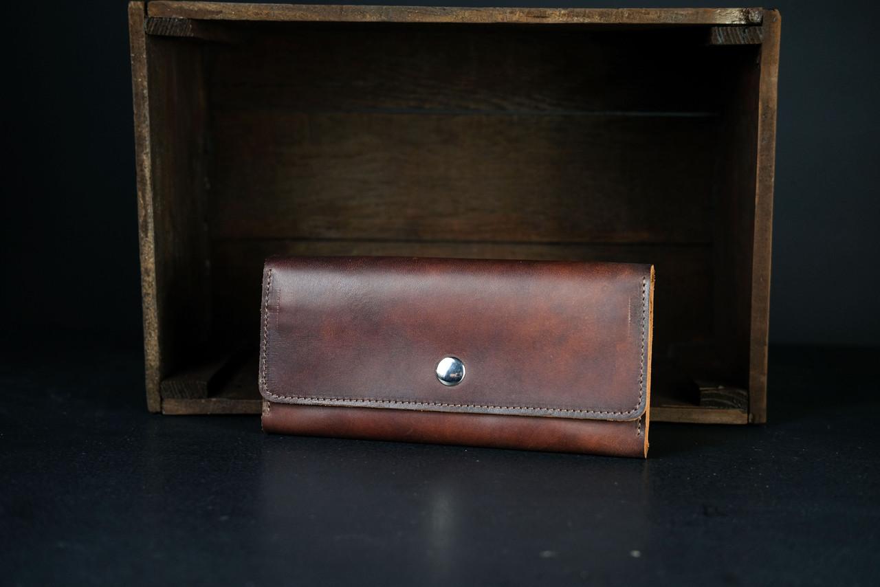 Кожаный кошелек на 12 карт Кожа Итальянский краст цвет Вишня