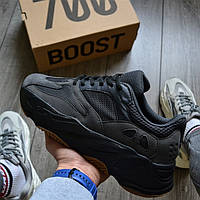 "Мужские кроссовки Adidas Yeezy Boost 700 Wave Runner ""Black Raw Rubber"". Живое фото (Реплика ААА+)"
