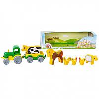 """Тематический набор машинок Ранчо """"Kid cars""""  - трактор, прицеп и 6 фигур животных"""