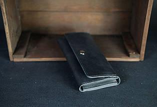 Кожаный кошелек на 12 карт Кожа Итальянский Краст цвет Черный, фото 3