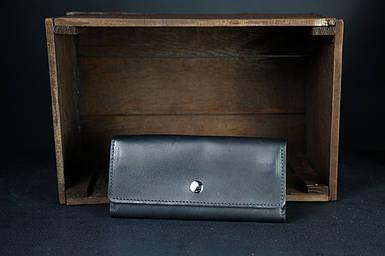 Шкіряний гаманець на 12 карт Шкіра Італійський Краст колір Чорний