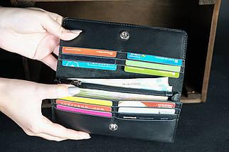 Кожаный кошелек на 12 карт Кожа Итальянский Краст цвет Черный, фото 2