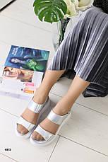Женские кожаные босоножки на липучке, перламутр, р.36,39, фото 2