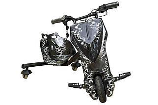Трёхколёсный скутер для райдеров Дрифт-карт Windtech Drift Cart 8″ Crazy Bug черная молния