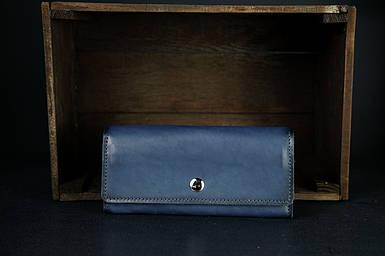 Шкіряний гаманець на 12 карт Шкіра Італійський Краст колір синій