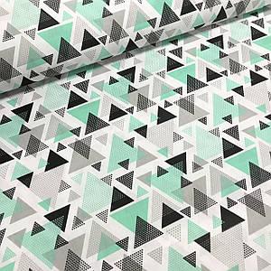 Хлопковая ткань польская треугольники серо-мятные из геометрических фигур
