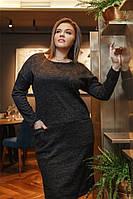 Ангоровое женское платье Черное. (4 цвета) Р-ры: 50-62. (104)463А.  , фото 1