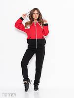 Теплый женский спортивный костюм утеплённый флисом (красный, черный)