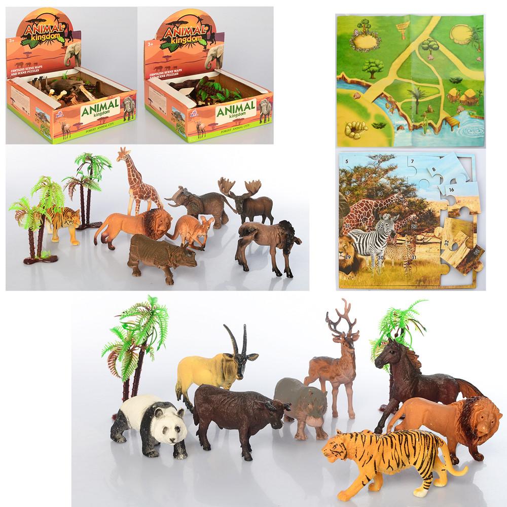 Набор диких животных 8 штук ,с пазли и игровое поле