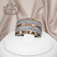 """Широкое женское серебряное кольцо с золотыми пластинами """"Диадора"""""""