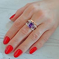 """Красивое женское серебряное кольцо с золотыми пластинами и аметистом """"Жасмин"""""""