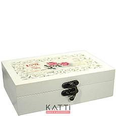 49124 шкатулка для бижутерии малая бокс Винтаж Love Роза бежевая, фото 3