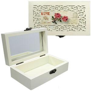 49124 шкатулка для бижутерии малая бокс Винтаж Love Роза бежевая