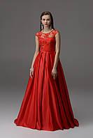 Платье вечерние из атласа с гипюром