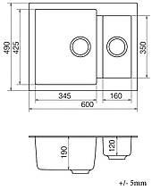 Кухонная мойка кварц 50*61 см VANKOR Orman OMP 03.61 Black, фото 3