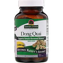 """Дягиль Nature's Answer """"Dong Quai"""" для женского здоровья, 1000 мг (90 капсул)"""