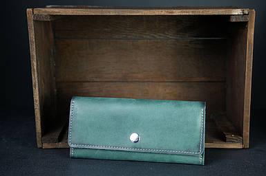 Шкіряний гаманець на 12 карт Шкіра Італійський Краст колір зелений